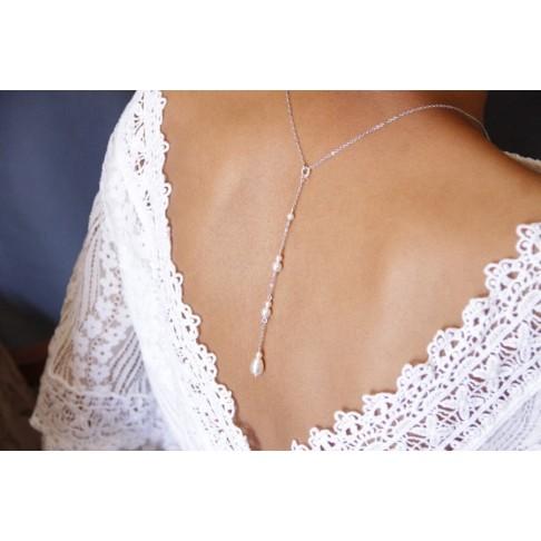 Collier de mariage avec bijou de dos amovible