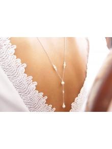 Collier mariage de dos perlé ivoire