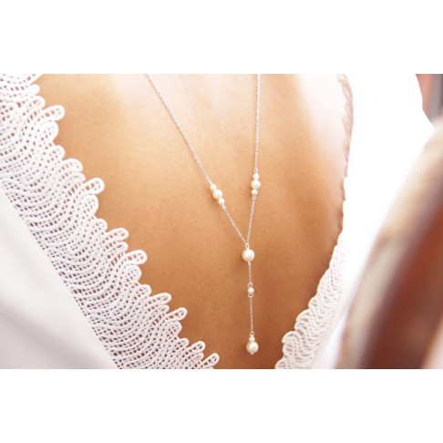Collier mariage de dos perlé
