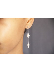 Boucles d'oreilles mariage perles et chaîne