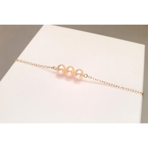 Bracelet plaqué-or trio de perles d'eau douce pêche