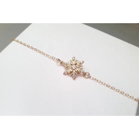 Bracelet flocon de neige en zirconium et plaqué-or