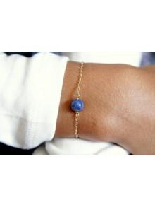 Bracelet une perle lapis lazuli et plaqué or
