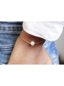 Bracelet plaqué or ou acier inoxydable et perle de culture solitaire