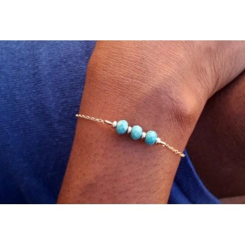 Bracelet porte-bonheur trio de cristal turquoise