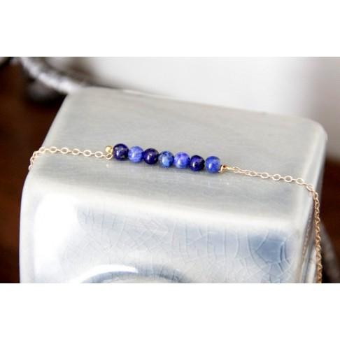 Bracelet 7 petites perles en lapis lazuli