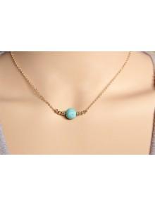 Collier plaqué or gold filled et perle de turquoise
