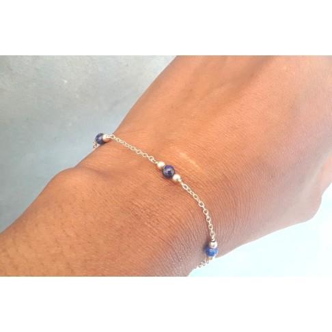 Bracelet plaqué or perles lapis lazuli parsemées