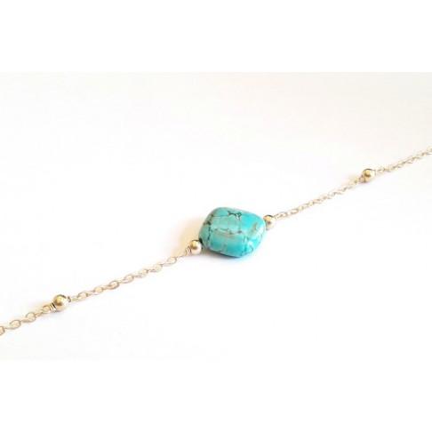 Bracelet losange en turquoise et chaîne perlée