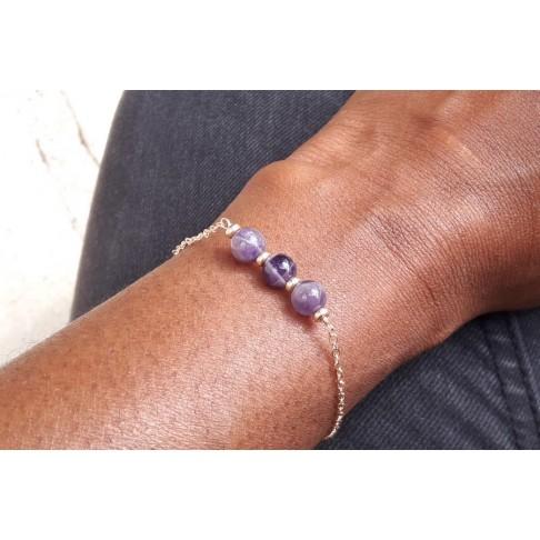 Bracelet porte-bonheur trio de pierres fines améthyste