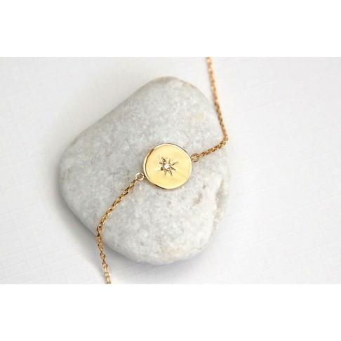 Bracelet étoile du Nord en plaqué or et zirconium