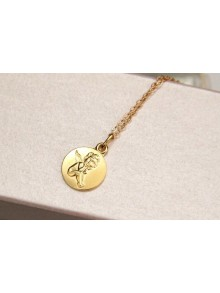 Médaille ange en plaqué or sur chaîne