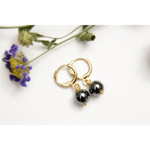 Minis créoles et perles hématite