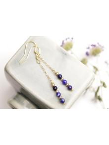 Boucles d'oreilles pendantes en lapis lazuli