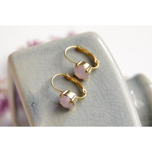 Boucles d'oreilles mariage rose opal et dorées, dormeuses solitaire style ancien