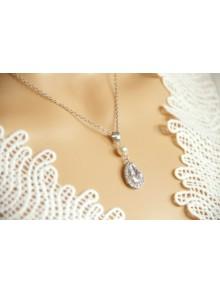 Collier de mariage goutte strass et perles