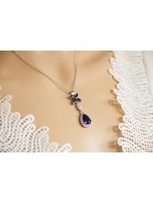 Collier bijou mariage long pendentif en zirconium bleu saphir