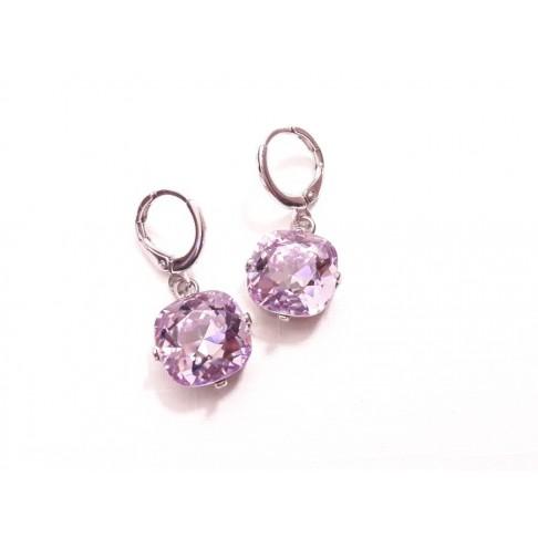 """Mini créoles boucles d'oreilles en cristal violet """"Lysine"""""""