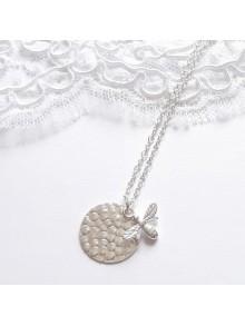 Collier médaille argent avec pendentif abeille