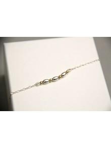 Bracelet argent perles ovales et rondes en gold filled