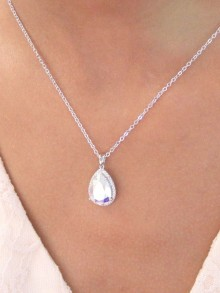 Rosalinda collier pendentif mariée goutte en cristal et strass zirconium