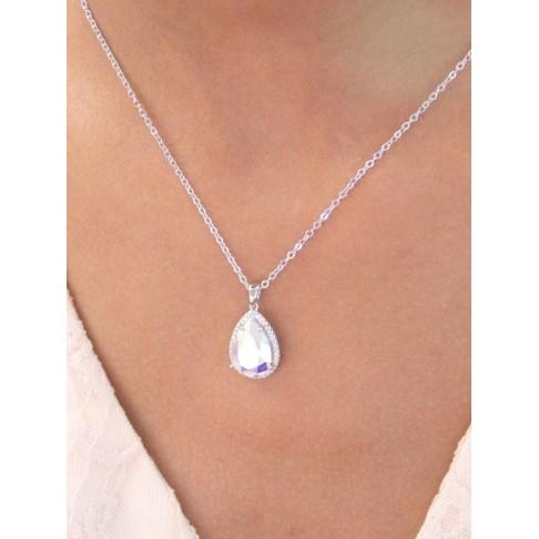 Rosalinda collier pendentif mariée goutte en cristal AB et oxyde de zirconium, collier mariage