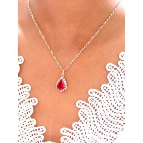 Belinda collier de mariage goutte baroque dorée et rouge
