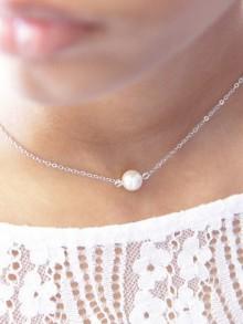 Collier de mariage en argent ou plaqué or perle solitaire