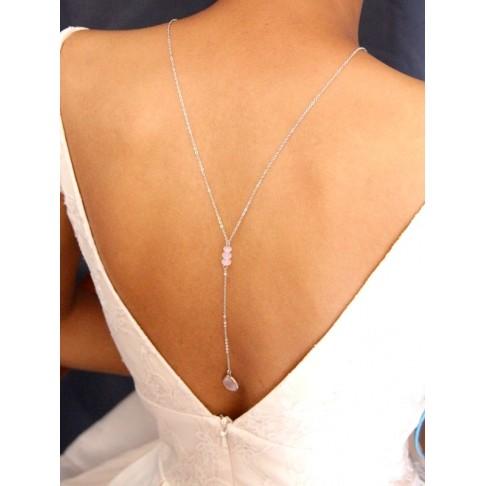 Collier mariage de dos en verre facetté rose opal