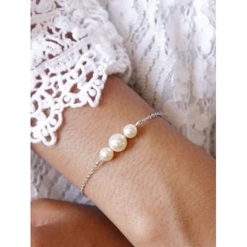 Bracelet de mariage dégradé de perles nacrées en cristal