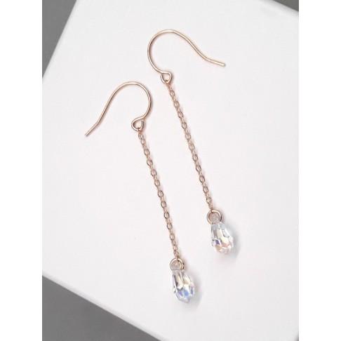Boucles d'oreilles pendentes minimalistes en cristal