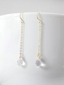 Boucles d'oreilles mariées plaqué or gouttes en cristal