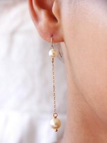 Longues boucles d'oreilles plaqué or perles en cristal nacré