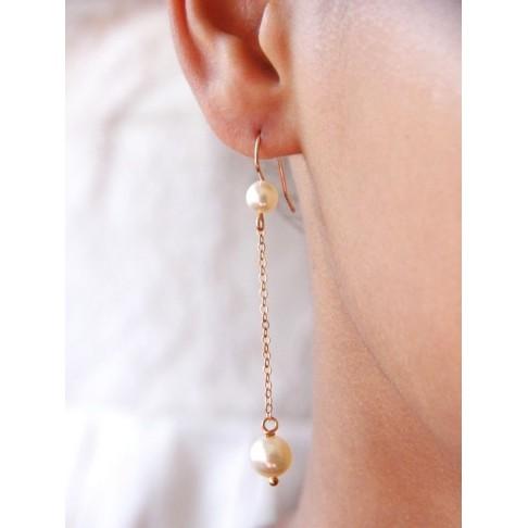 Longues boucles d'oreilles double perles en cristal nacré