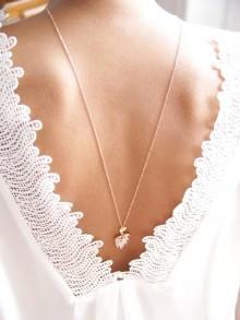 Bijoux de dos, collier mariage de dos feuilles de palmier