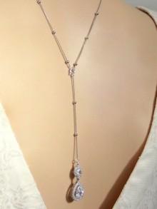 Collier de mariage avec bijou de dos goutte strass