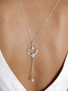 Bijou mariage collier de dos Pya ornement fleuri et perles de culture