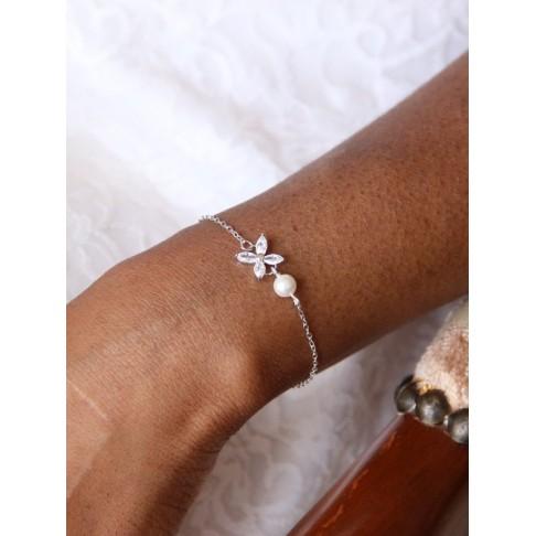 Bracelet de mariage Icône en zirconium et perle nacrée en cristal