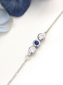 Bracelet de mariage Marelle bleu saphir trio de zirconiums
