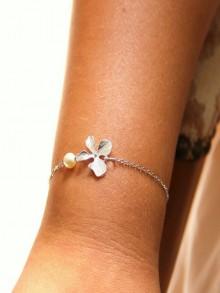 Bracelet de mariage orchidée et perle