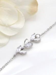 Bracelet de mariage feuilles épis en zirconium
