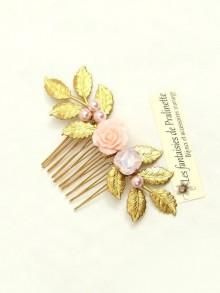 Mala peigne bohème fleur et cristal rose, bijoux mariage, bijoux intemporels, bijoux cristal