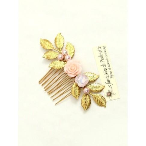 Peigne bohème fleur et cristal rose, bijoux mariage, bijoux intemporels, bijoux cristal