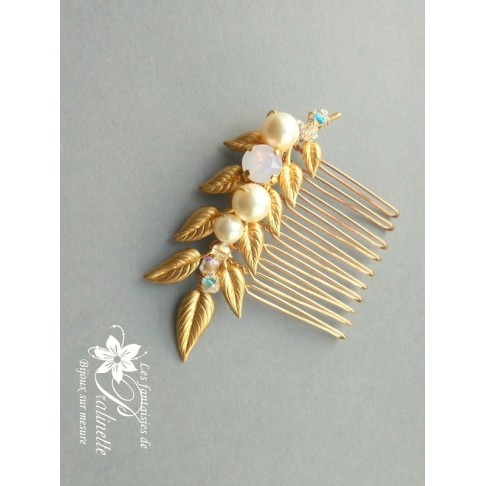 Peigne mariage Yanina branchage feuilles dorées