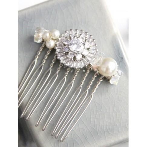 Peigne mariage rosace en oxydes de zirconium et perles