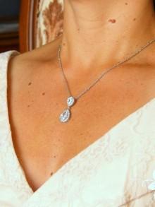 Soane pendentif collier de mariage deux gouttes cristal oxyde de zirconium serti et strass sur fine chaine