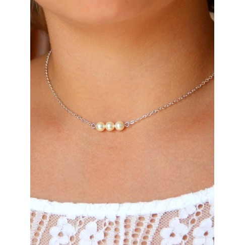 Collier de mariage trio de perles nacrées