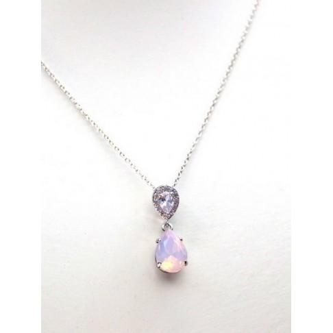 Collier de mariage goutte en cristal rose opal