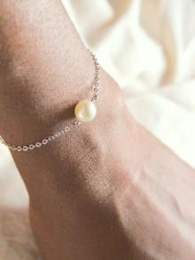 Bracelet de mariage Adéna fleur en satin et perles
