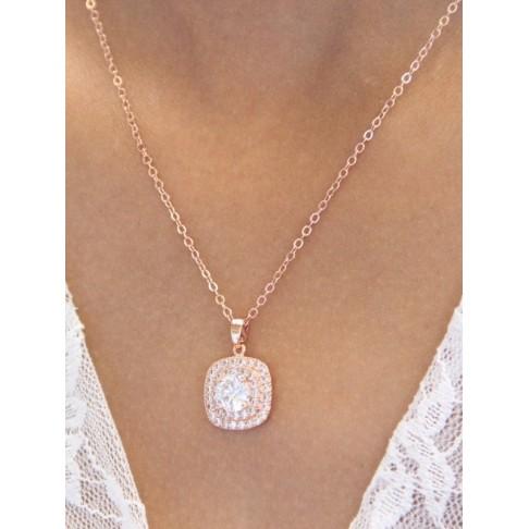 Collier de mariage Millan rose gold pendentif carré en zirconium